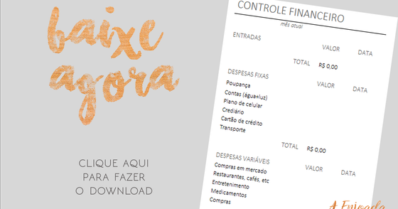Cover - Planilha Controle Financeiro - A Enjoada da Corte