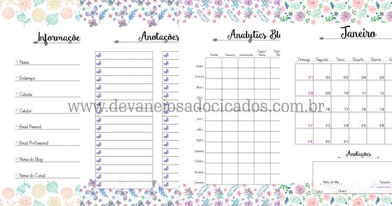 Cover - Planner 2017 Floral - Tamanho A5 - Devaneios Adocicados