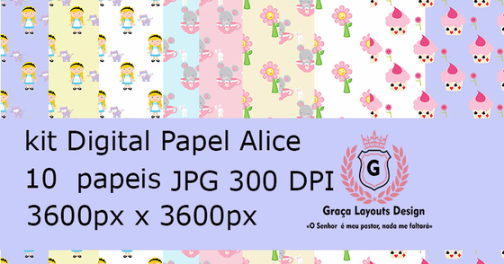 Cover - Kit digital papel Alice
