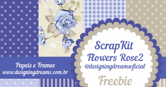 Cover - Kit de papeis digitais Flowers Rose Azul