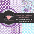 Thumb - Kit de papeis digitais e escalopes Flowers Rose 3