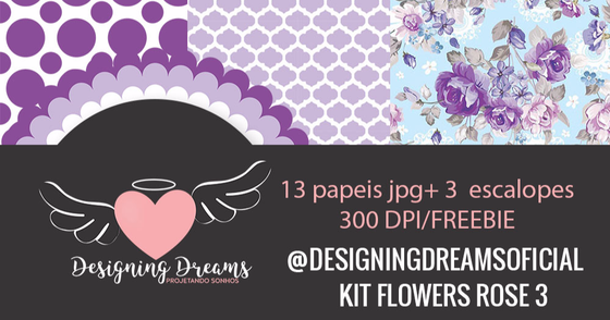 Cover - Kit de papeis digitais e escalopes Flowers Rose 3