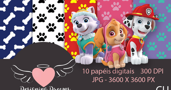 Cover - Kit digital Patrulha Canina 40 papeis jpg + de 60 cliparts png
