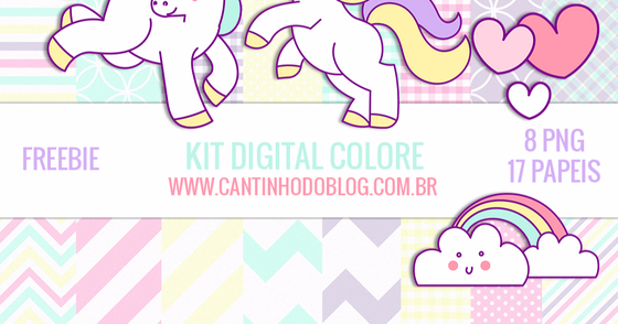 Cover - Kit digital Colorê - Unicórnios: Papeis, clipart e escalopes