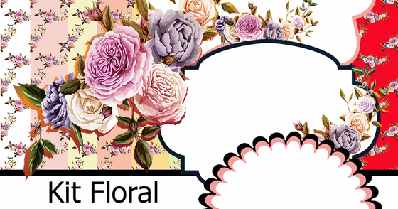 Cover - Kit  Digital Floral Vintage