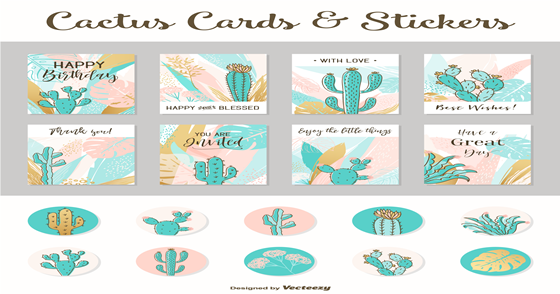 Cover - Cards e Stickers de Cactos em PNG